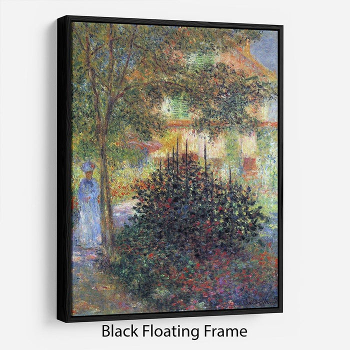 Camille in the garden of the house in Argenteuil by Monet Floating Frame Canvas