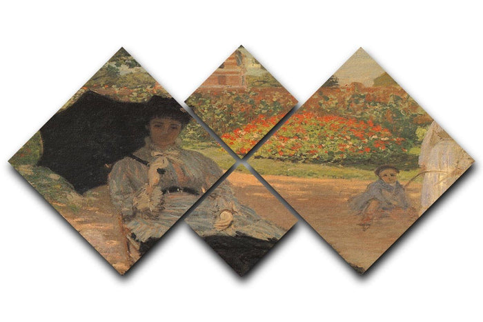 Camille in the garden with Jean and his nanny by Monet 4 Square Multi Panel Canvas