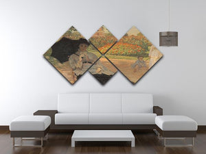 Camille in the garden with Jean and his nanny by Monet 4 Square Multi Panel Canvas - Canvas Art Rocks - 3