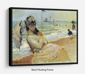 Camille on the beach at Trouville by Monet Floating Frame Canvas