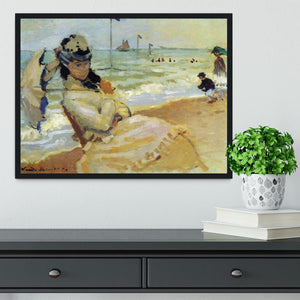 Camille on the beach at Trouville by Monet Framed Print - Canvas Art Rocks - 2