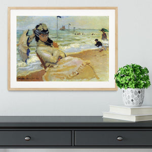Camille on the beach at Trouville by Monet Framed Print - Canvas Art Rocks - 3