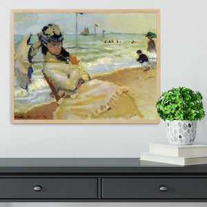 Camille on the beach at Trouville by Monet Framed Print - Canvas Art Rocks - 4