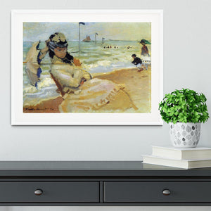 Camille on the beach at Trouville by Monet Framed Print - Canvas Art Rocks - 5