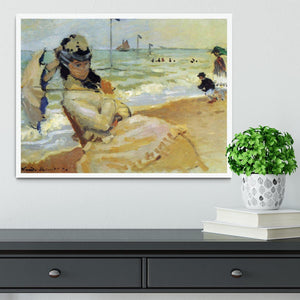 Camille on the beach at Trouville by Monet Framed Print - Canvas Art Rocks -6