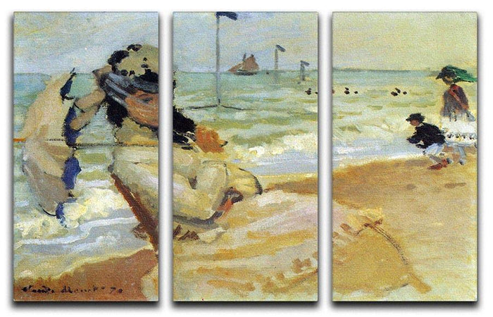 Camille on the beach at Trouville by Monet Split Panel Canvas Print
