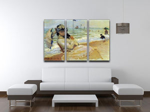 Camille on the beach at Trouville by Monet Split Panel Canvas Print - Canvas Art Rocks - 4