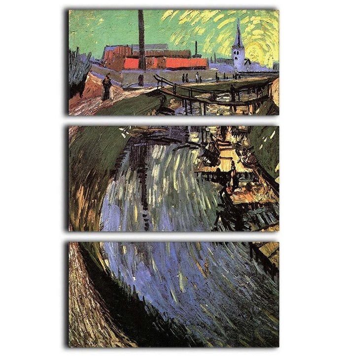 Canal with Women Washing by Van Gogh 3 Split Panel Canvas Print