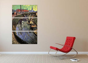 Canal with Women Washing by Van Gogh 3 Split Panel Canvas Print - Canvas Art Rocks - 2