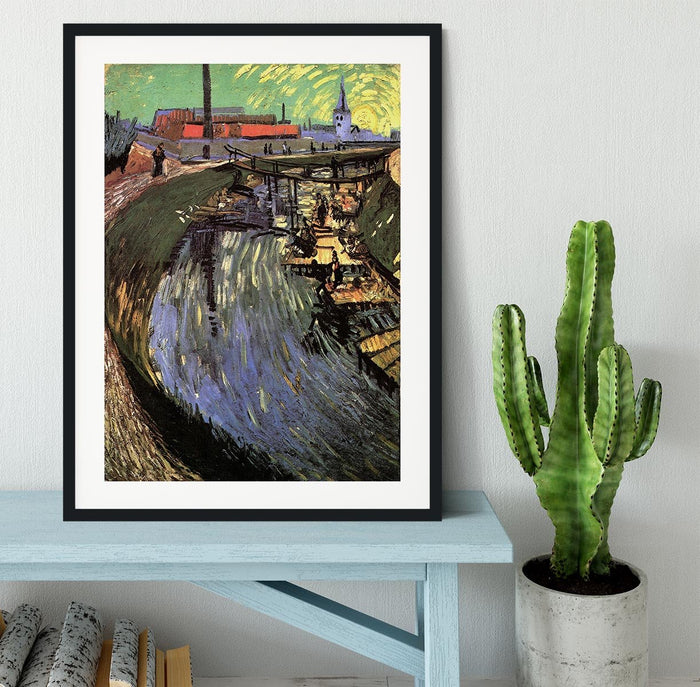 Canal with Women Washing by Van Gogh Framed Print