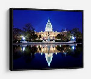 Capitol Hill Building at dusk with lake reflection HD Metal Print