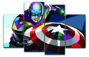 Captain America Pop Art 4 Split Panel Canvas  - Canvas Art Rocks - 1