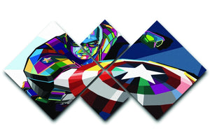 Captain America Pop Art 4 Square Multi Panel Canvas  - Canvas Art Rocks - 1