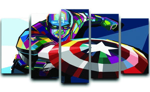 Captain America Pop Art 5 Split Panel Canvas  - Canvas Art Rocks - 1