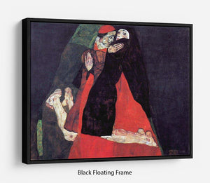 Cardinal and Nun or The caress by Egon Schiele Floating Frame Canvas - Canvas Art Rocks - 1
