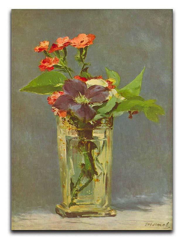 Carnations and Clematis in a Crystal Vase by Manet Canvas Print or Poster