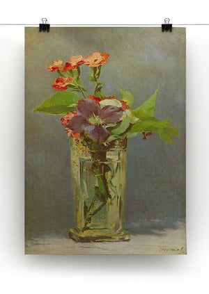Carnations and Clematis in a Crystal Vase by Manet Canvas Print or Poster - Canvas Art Rocks - 2