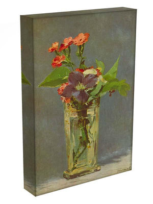 Carnations and Clematis in a Crystal Vase by Manet Canvas Print or Poster - Canvas Art Rocks - 3