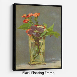 Carnations and Clematis in a Crystal Vase by Manet Floating Frame Canvas