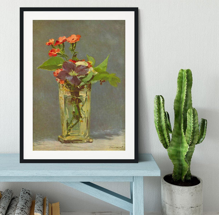 Carnations and Clematis in a Crystal Vase by Manet Framed Print