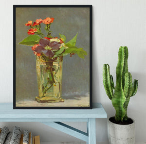 Carnations and Clematis in a Crystal Vase by Manet Framed Print - Canvas Art Rocks - 2