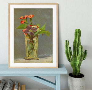 Carnations and Clematis in a Crystal Vase by Manet Framed Print - Canvas Art Rocks - 3