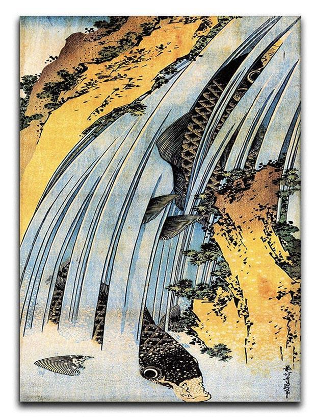 Carps ascending waterfall by Hokusai Canvas Print or Poster