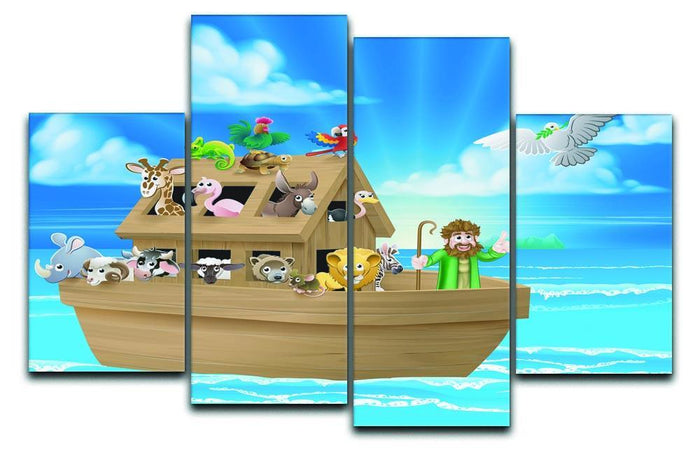 Cartoon childrens illustration of the Christian Bible story of Noah 4 Split Panel Canvas