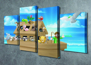 Cartoon childrens illustration of the Christian Bible story of Noah 4 Split Panel Canvas - Canvas Art Rocks - 2