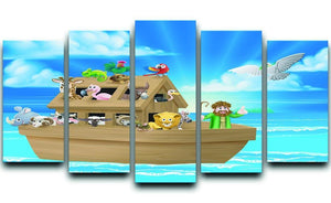 Cartoon childrens illustration of the Christian Bible story of Noah 5 Split Panel Canvas  - Canvas Art Rocks - 1