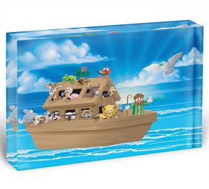 Cartoon childrens illustration of the Christian Bible story of Noah Acrylic Block - Canvas Art Rocks - 1