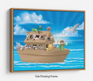 Cartoon childrens illustration of the Christian Bible story of Noah Floating Frame Canvas