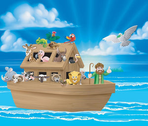 Cartoon childrens illustration of the Christian Bible story of Noah Wall Mural Wallpaper - Canvas Art Rocks - 1