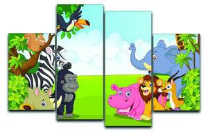 Cartoon collection animal in the jungle 4 Split Panel Canvas  - Canvas Art Rocks - 1