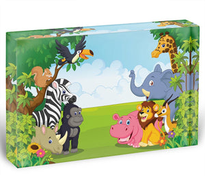 Cartoon collection animal in the jungle Acrylic Block - Canvas Art Rocks - 1