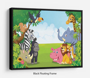 Cartoon collection animal in the jungle Floating Frame Canvas