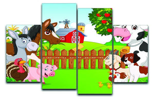 Cartoon happy animal collection 4 Split Panel Canvas  - Canvas Art Rocks - 1