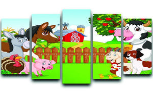 Cartoon happy animal collection 5 Split Panel Canvas  - Canvas Art Rocks - 1