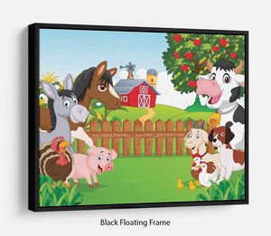 Cartoon happy animal collection Floating Frame Canvas