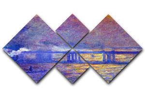 Charing cross bridge by Monet 4 Square Multi Panel Canvas  - Canvas Art Rocks - 1