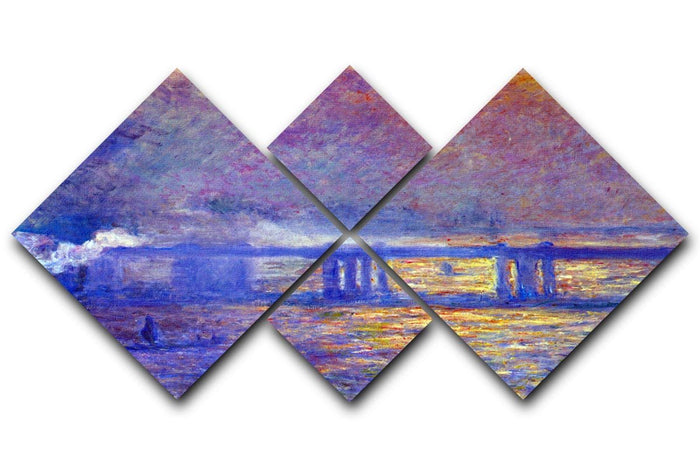 Charing cross bridge by Monet 4 Square Multi Panel Canvas