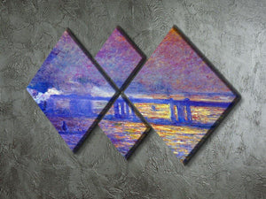 Charing cross bridge by Monet 4 Square Multi Panel Canvas - Canvas Art Rocks - 2