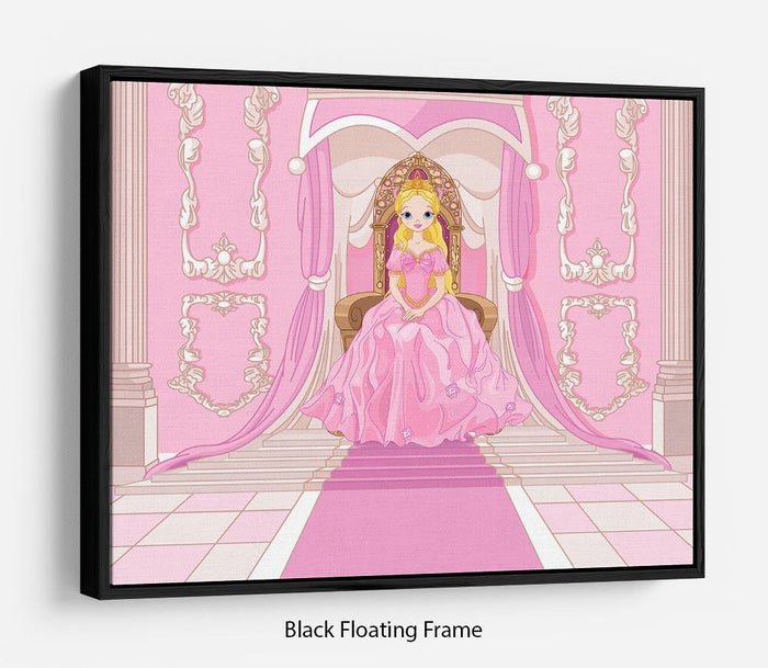 Charming Princess sits on a throne Floating Frame Canvas