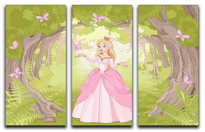 Charming princess a fantastic wood 3 Split Panel Canvas Print