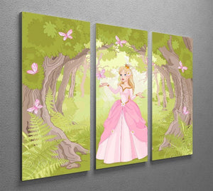 Charming princess a fantastic wood 3 Split Panel Canvas Print - Canvas Art Rocks - 2