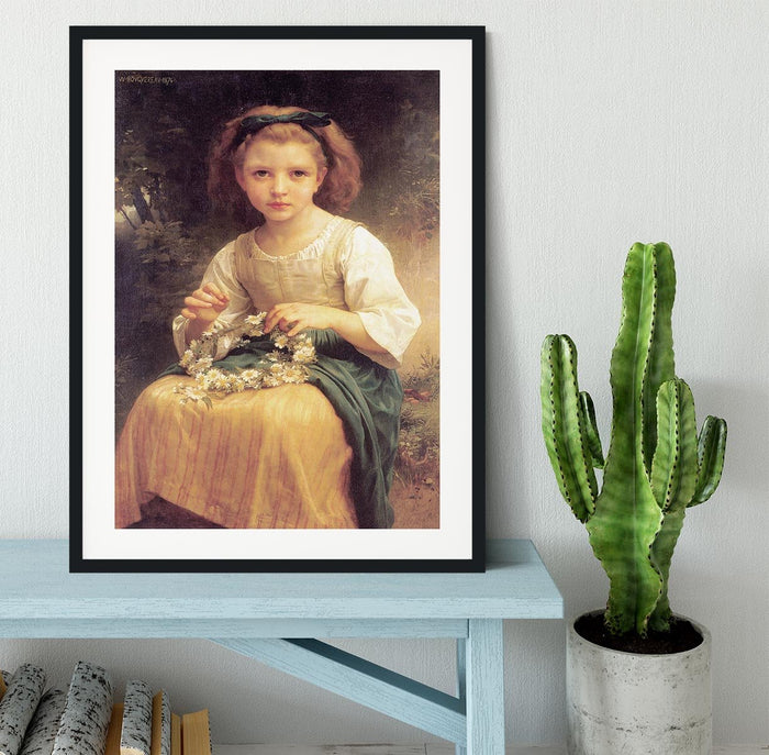 Child Braiding A Crown By Bouguereau Framed Print