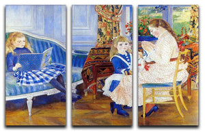 Children in the afternoon in Wargemont by Renoir 3 Split Panel Canvas Print - Canvas Art Rocks - 1