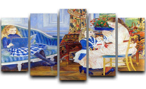 Children in the afternoon in Wargemont by Renoir 5 Split Panel Canvas  - Canvas Art Rocks - 1