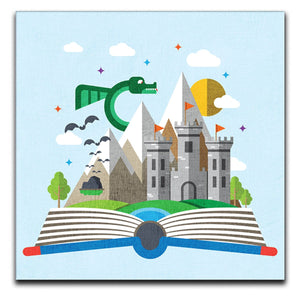 Children's Castle & Dragon Canvas Print - Canvas Art Rocks