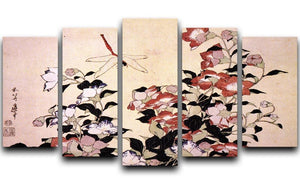 Chinese bell flower and dragon-fly by Hokusai 5 Split Panel Canvas  - Canvas Art Rocks - 1